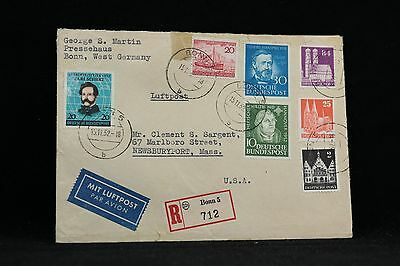 Germany: 1952 #648a (perf 14), #689-1, #693 Registered Label cover to the USA