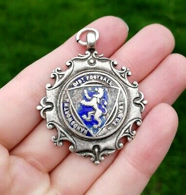 VINTAGE STERLING SILVER WANDSWORTH FOOTBALL LEAGUE FOB MEDAL Birmingham 1935