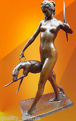 ART DECO BRONZE STATUE McCARTAN DIANA HOUND FIGURE HOT CAST SIGNED NUDE FIGURINE