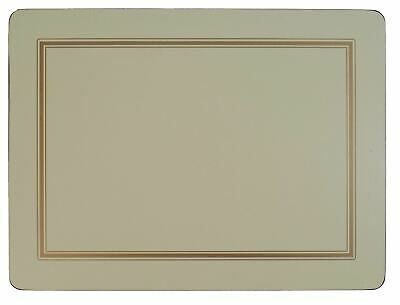 Set Of 4 Cream Gold Bordered Classic Cork Backed Large Placemats 40 X 30 X 0.6Cm