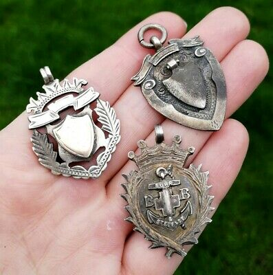 3x VINTAGE STERLING SILVER GOLD POCKET WATCH FOB MEDALS 1905-1928