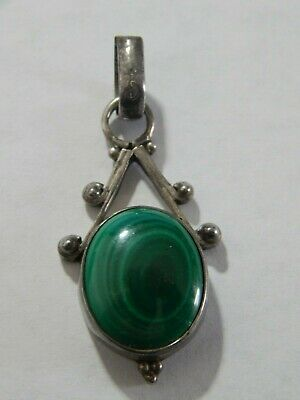 Vintage Sterling With Green Agate Stone Pendant Old Pawn Southwest