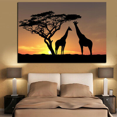 Canvas HD Prints Poster Home Decor Wall Art 1 Pcs. Giraffe Sunset Landscape View
