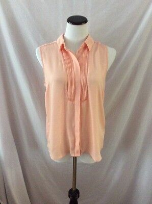 One Clothing Sleeveless Blouse ~ Size Small ~ Light Peach ~ Hidden Buttons
