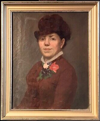 Fine 19Th Century French Oil - Portrait Of Elegant Lady In Hat & Floral Posy