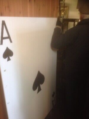 HUGE ALICE IN WONDERLAND ACE SPADES SEVEN HEARTS 5 Foot X 3 Foot PLAYING CARD