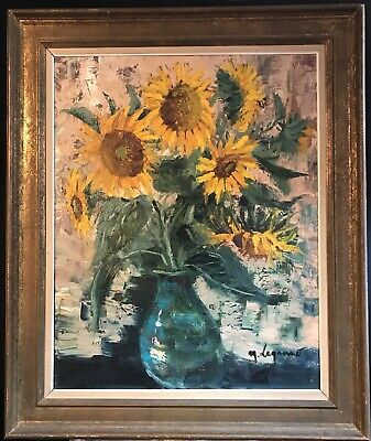 Huge 1960's French Post-Impressionist Oil - Sunflowers In Vase From Provence