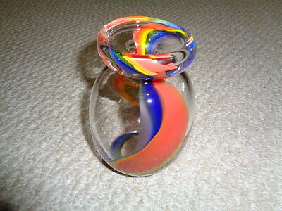 Hand blown studio art glass vase gay pride theme clear thick rainbow design