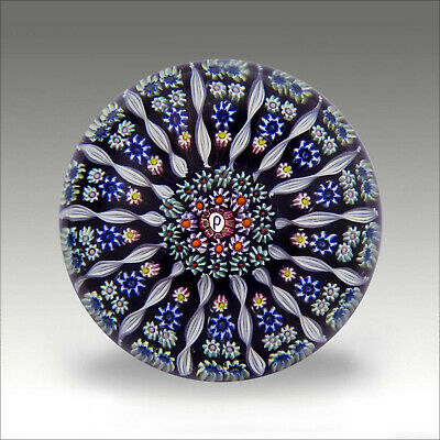 Vintage Perthshire PP1 millefiori glass paperweight + label / presse papiers