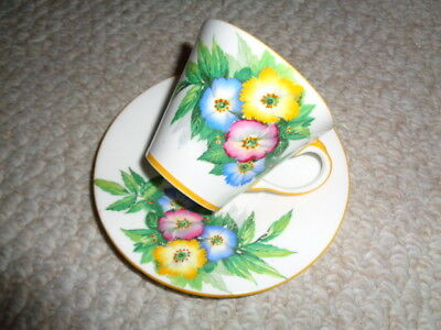 Hand painted Aynsley England tea cup saucer porcelain bone china H508 spring flo