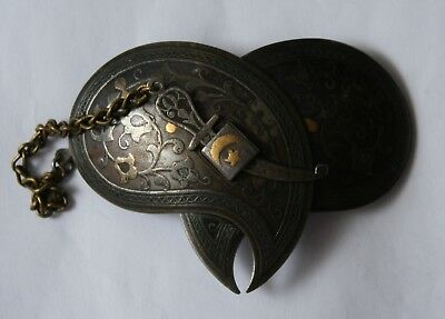 Antique RUSSIAN TURKESTAN Star and Crescent NIELLO SILVER BELT BUCKLE circa 1900