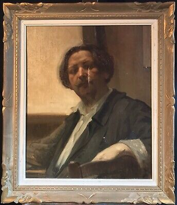 Fine C.1900 French Impressionist Oil  Portrait Characterful Gent - Paris Stamped