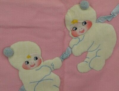 "vintage baby blanket snow babies hand made appliqué  29x36"" very good"
