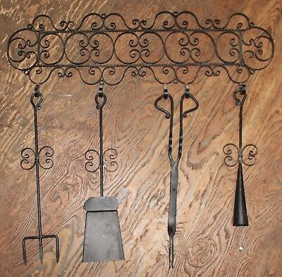 Antique Vintage Forged Iron Hanging Fireplace Wood Stove Tools