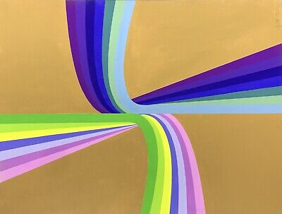 ARLETTE MARTIN (b.1924) SUPERB 1970's FRENCH GEOMETRIC ABSTRACT PAINTING -