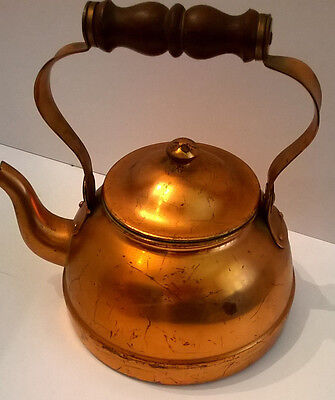 Vintage Tagus Made In Portugal Copper Tea Pot Kettle Wood Handle