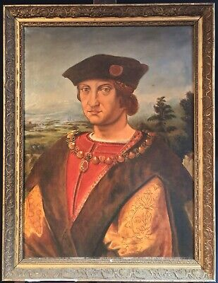 19Th Century French Oil After Italian Renaissance Old Master - Portrait Of Noble