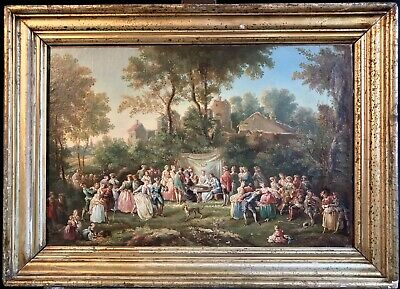 Fine Antique French Oil Painting - The Village Wedding Large Gathering Figures
