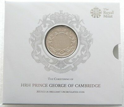 2013 Royal Mint Prince George Christening £5 Five Pound Coin Uncirculated Sealed
