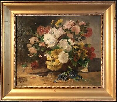 Eugene Henri Cauchois (1850-1911) Very Large Signed Oil - Bright Flowers Nature
