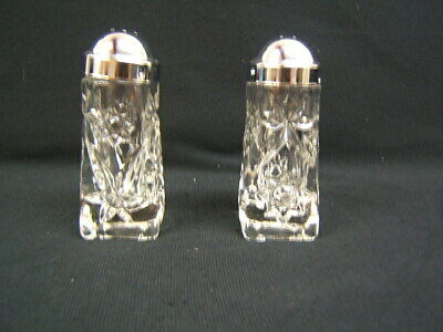 Anchor Hocking Early American Prescut Crystal Salt & Pepper Shakers VGC