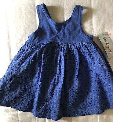 eb2e0e56d New Adorable Baby Girl Cat & Jack 2 piece Set Outfit Dress Blue Spring 12  Months