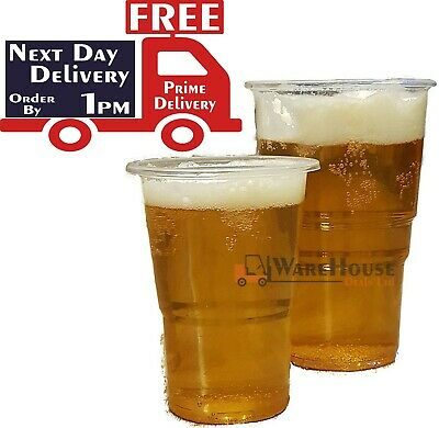 1000 X Clear Plastic Pint / Half Pint Disposable Beer Glasses Cups Tumblers