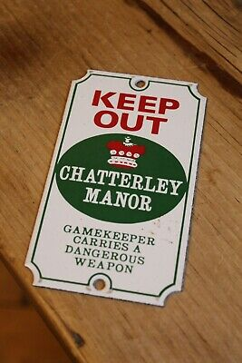 Genuine Antique Enamel Sign Dodo Designs Keep Out Chatterley Manor