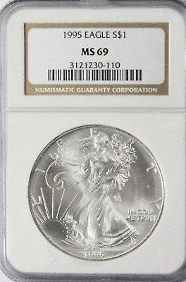 1995 $1 American Silver Eagle One Ounce Fine Dollar Coin Gem Unc NGC MS69