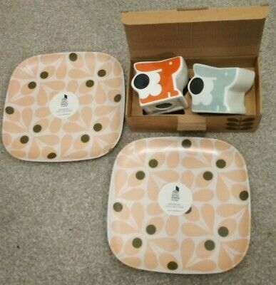 2 x Orla Kiely Bamboo Side Plates AND 2 x Ceramic Egg Cups BNEW