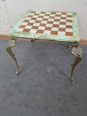 Vintage / Antique Marble & Metal Decorative Chess Table / Board Collection Only