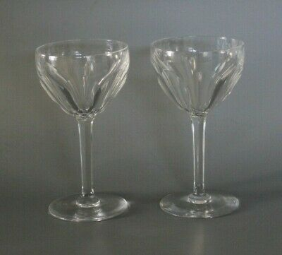 Pair Large 18cm Antique Victorian Flat Faceted Wine Glasses