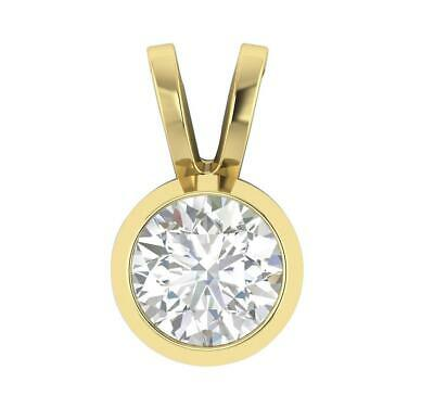 SI1 G 0.50 Ct Natural Diamond Solitaire Pendant Necklace 14K Solid Gold 0.43Inch