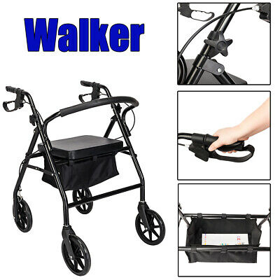 Drive Medical Red Rollator Folding Senior Walker Adult 4 Wheels with Padded Seat