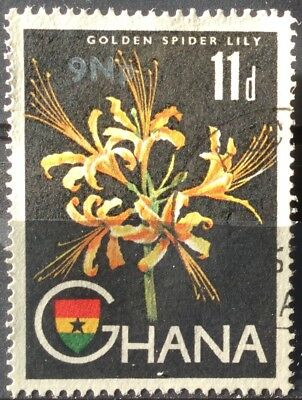 Ghana 1967  9 N.p. on 11p Golden Spider Lily SG448 Fine Used