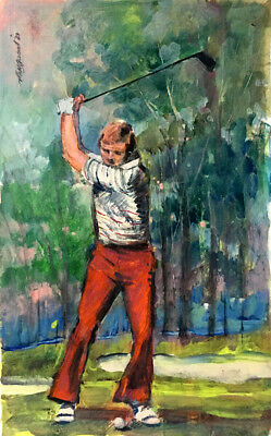 Jack Nicklaus Golfing  30 x 20 in.Original acrylic on panel Hall Groat Sr.