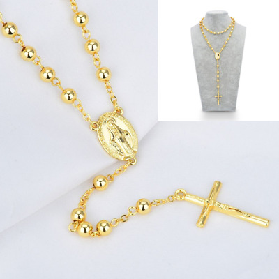 "DG 32"" Stainless Steel Gold Beaded Rosary Virgin Mary Jesus Cross Necklace Gift"