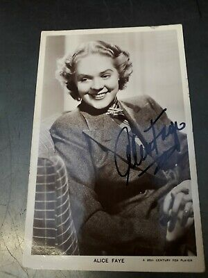 Autograph Picturegoer Postcard Signed By Alice Faye