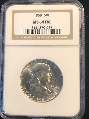 1959 Franklin 50 Cent Silver Half Dollar NGC MS 64 FBL Bright White Luster Coin