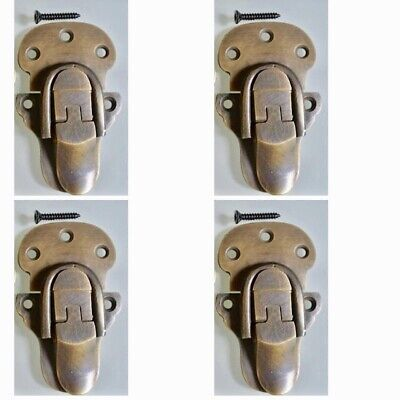 4 small TRUNK catch hasp latch suitcase old style BOX solid brass LOCK 66 mm B