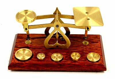 Small Decorative WOODEN & BRASS Weighing Scales & Weights / UNBOXED - BC1