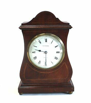 Vintage MAPPIN & WEBB Wood Marquetry Inlay Wind Up Enamelled Mantel Clock - C04