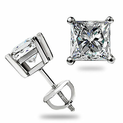 1.60 Ct Princess Cut Solitaire Lab Studs Earrings Real 14K White Gold Screw Back