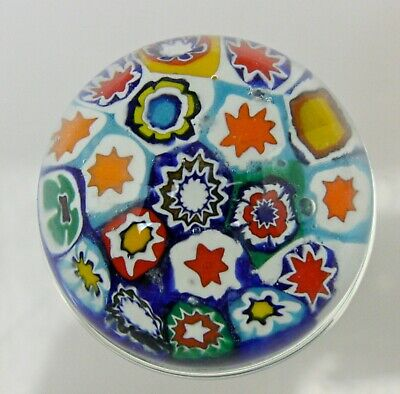 Colorful Vintage Art Glass Millefiori Paperweight