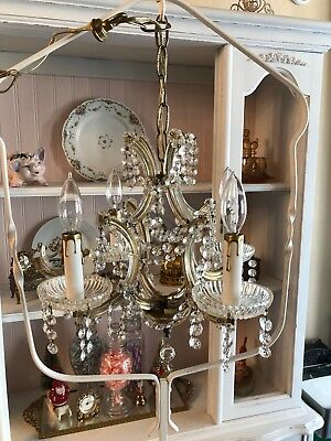 Vtg PETITE European Maria Theresa Birdcage Chandelier Crystal Antique Brass Gold