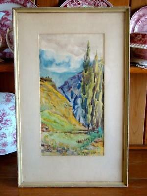 Vintage Original Framed WATERCOLOR By California Listed Artist H. NEVILL-SMITH