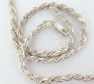 Heavy Set / Long / Bling / Quality Italian Made Sterling Silver Necklace.
