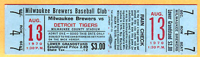 Rare 1970 Milw Brewers (First Year Ever) Full Ticket-8/13/70-Tigers