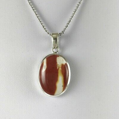 South African Agate- 925 Sterling Silver Pendant - Rolo Chain Necklace