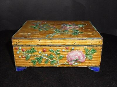 Chinese Cloisonne Enameled Cigarette Box Cedar Imperial Yellow 19th Century